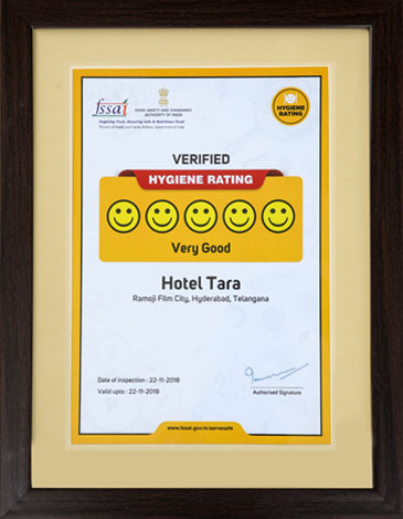 Hotel Sitara at Ramoji Film City receives FSSAI award for high Hygiene Rating