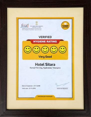 Hotel Sitara at Ramoji Film City receives FSSAI award for high Hygiene Rating